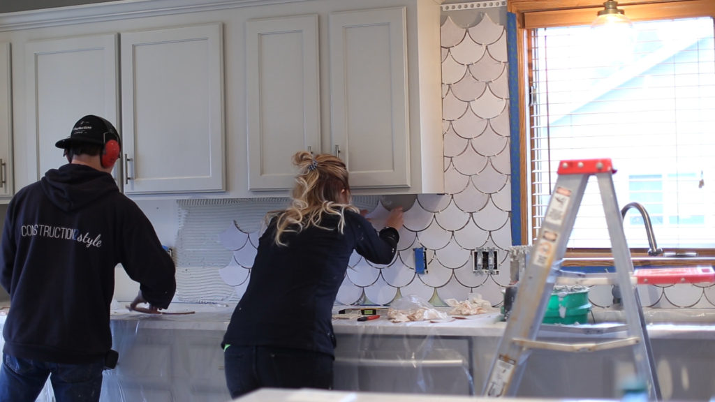 How to Tile a Backsplash | construction2style using Mercury Mosaics Moroccan Fish Scale Tiles
