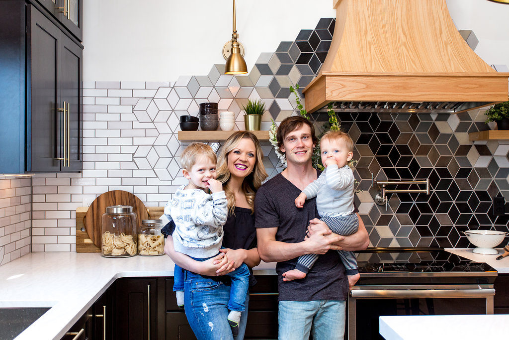 Morgan and Jamie Molitor, construction2style family in their kitchen reveal
