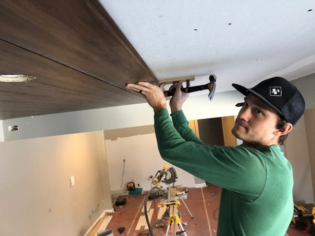 how to DIY a wood plank panel ceiling | construction2style