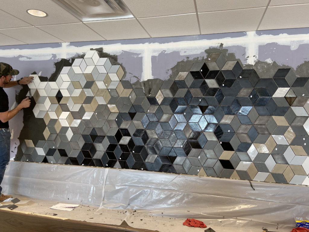 Root Insurance Commercial Tile Wall Design & Install 12