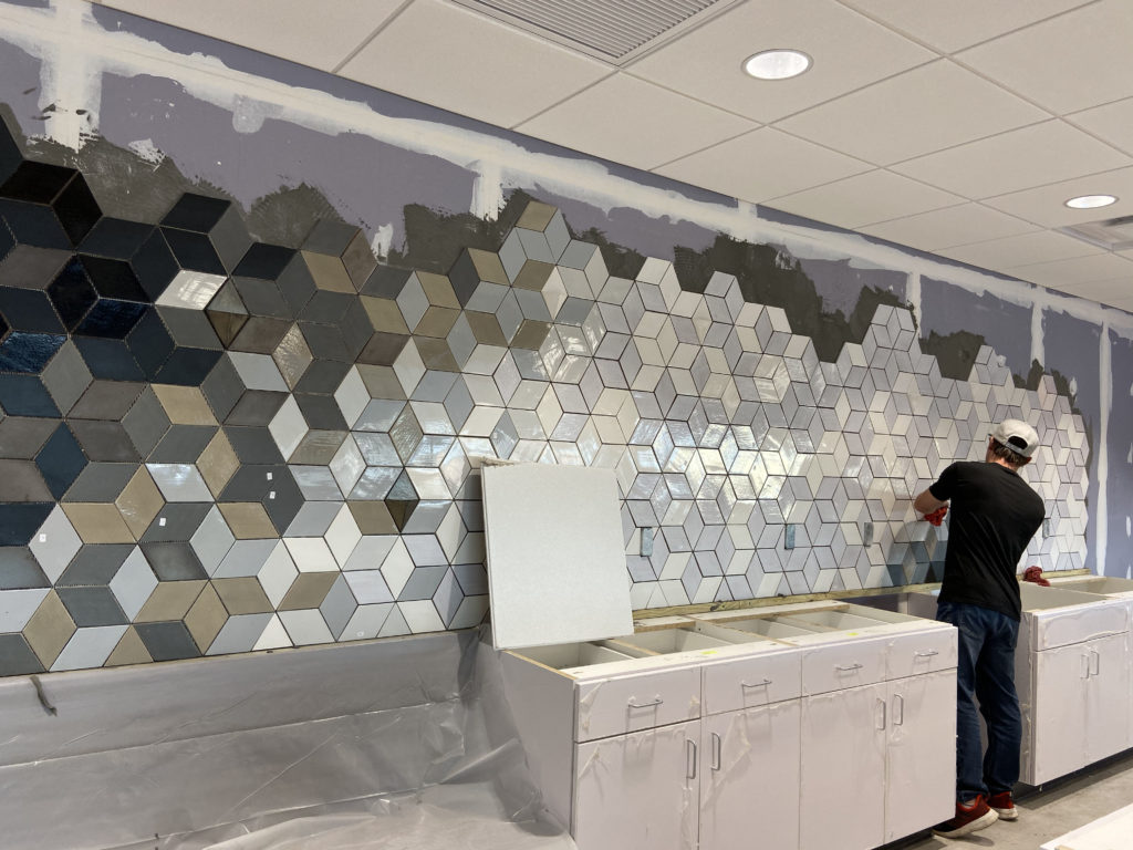 Root Insurance Commercial Tile Wall Design & Install 2